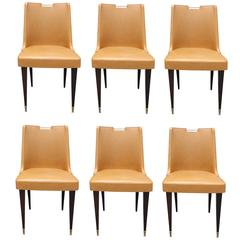 Set of Six Fantastic French Art Moderne Dining Chairs, circa 1940s