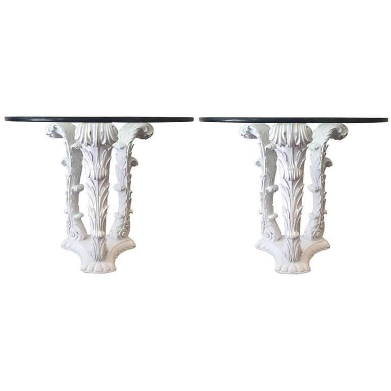 Pair of Serge Roche Carved Wood Tables