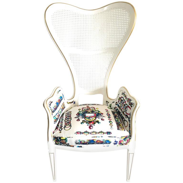 Vintage Lacroix Upholstered High Back Cane Armchair at 1stdibs