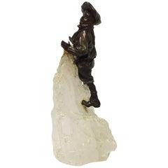French Patinated Metal Boy Climbing Rock Crystal Mountain, 19 Century