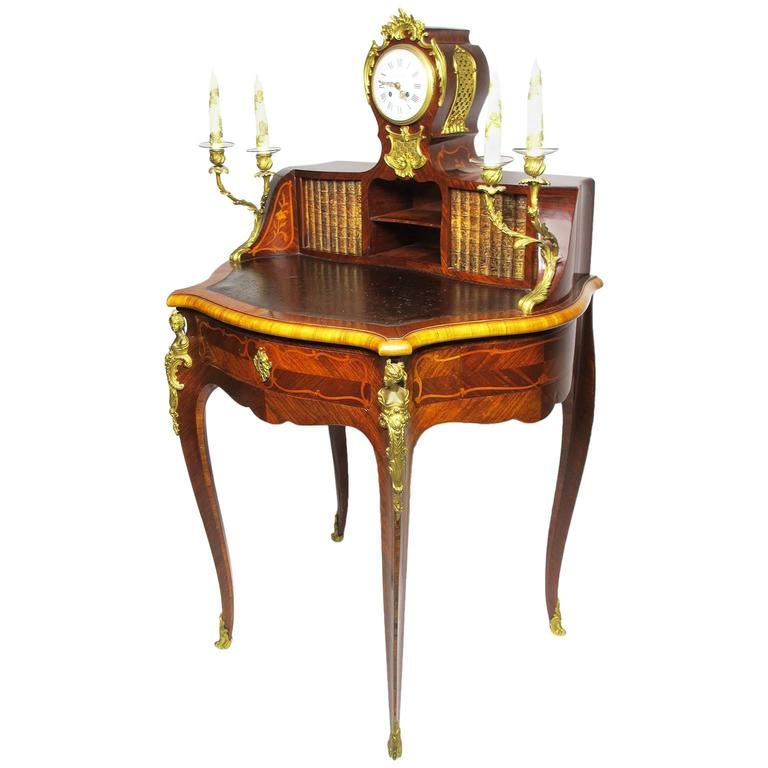 French Louis XV Style Marquetry & Gilt Bronze-Mounted Secretary Desk with Clock
