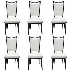 Set of Six French Art Deco Ebonized Walnut Dining Chairs, circa 1940s