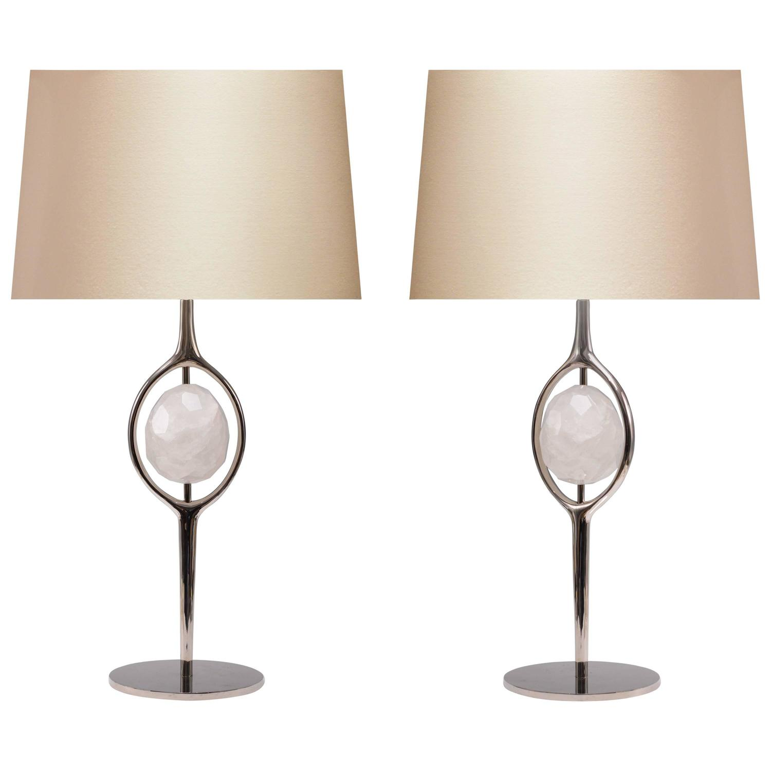 pair of modern rock crystal quartz lamps for sale at 1stdibs. Black Bedroom Furniture Sets. Home Design Ideas