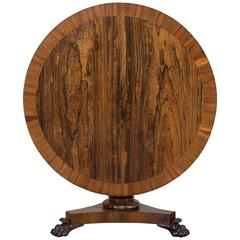 Antique English Rosewood and Walnut Tilt-Top Table, circa 1835
