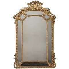 "Antique French ""Pareclose"" Gilt and Carved Mirror, circa 1885"