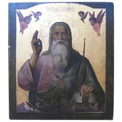 Large Russian Giltwood and Hand-Painted Icon