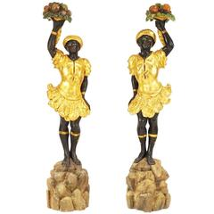 Pair of 19th Century Carved Wood Blackamoor Figures