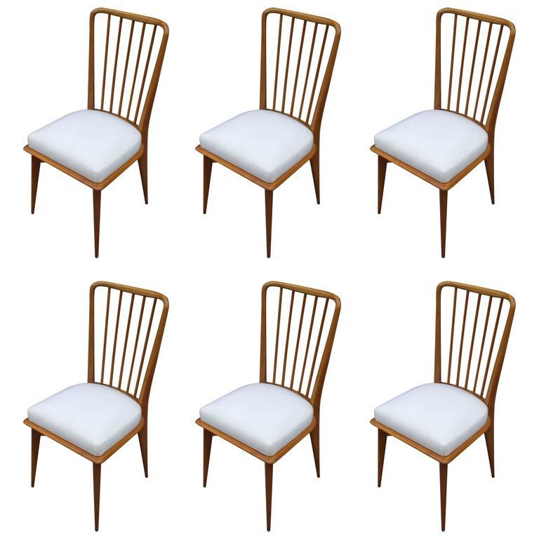 Mid-Century Modern Italian Paolo Buffa Dining Chairs, Set of Six