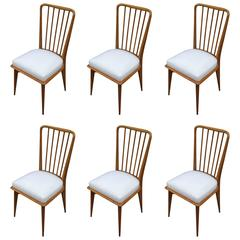 Mid-Century Modern Italian Paolo Buffa Dining Chairs, Set of Six