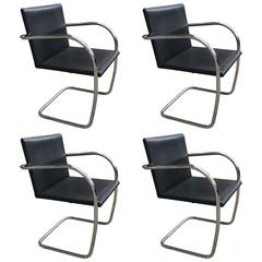 Ludwig Mies van der Rohe Brno Chairs, Set of Four, Knoll