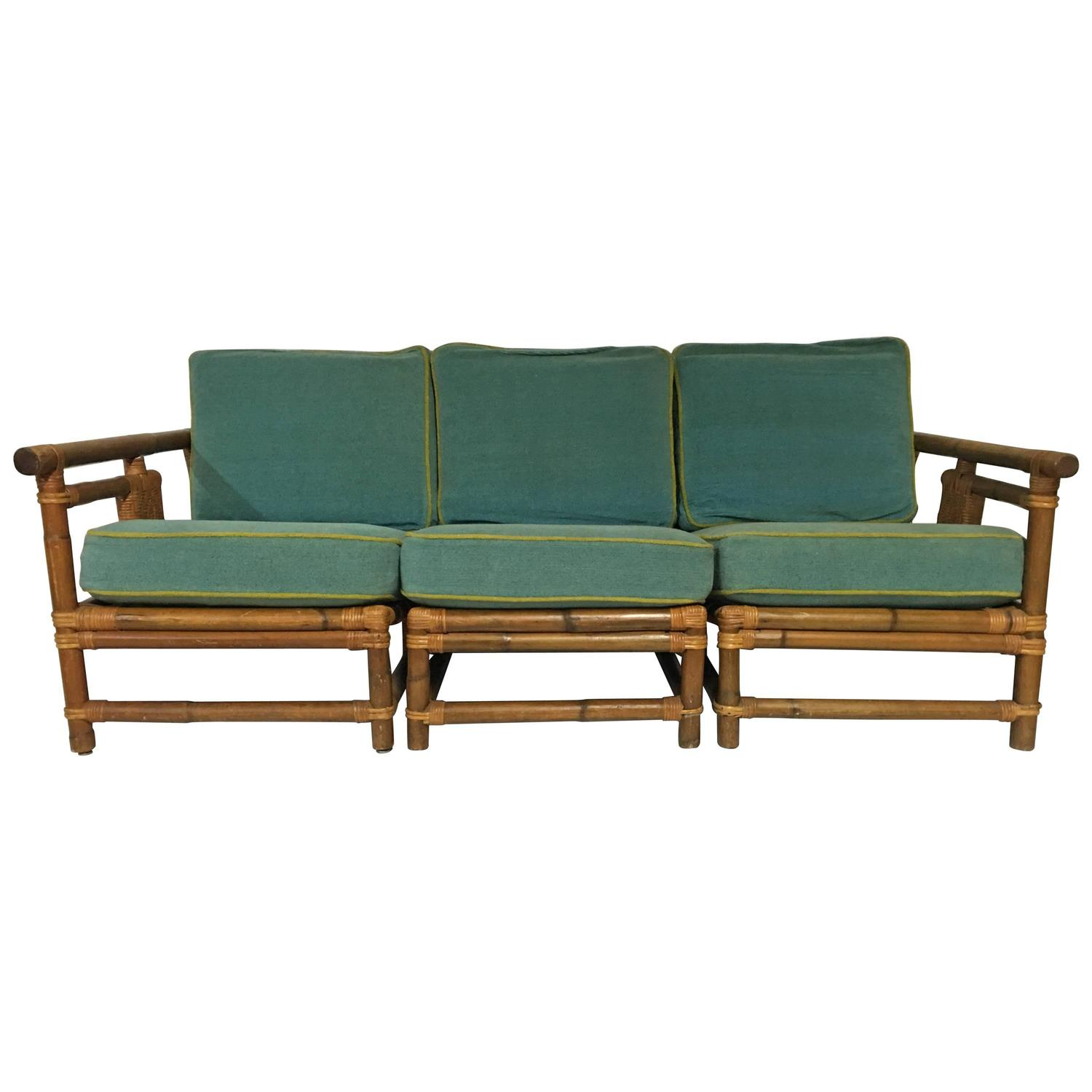 1940s Calif Asia Rattan and Wicker Three Piece Sofa and Cushions