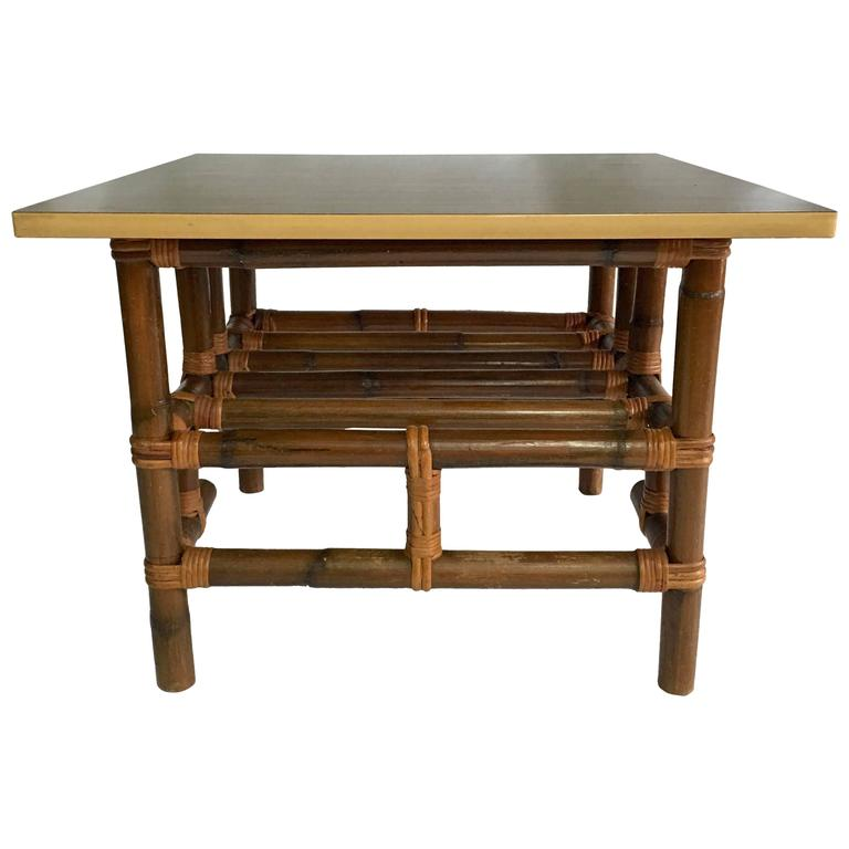 Calif-Asia Rattan and Formica Cocktail Table
