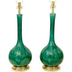 Pair of Green Drip Glaze Table Lamps with Gold Leaf Gilt Hardware