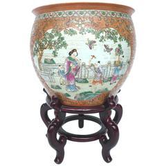 20th Century Chinese Hand-Painted Ceramic Fishbowl
