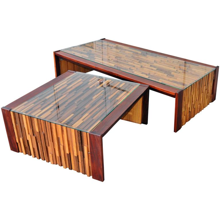 Percival Lafer Brutalist Solid Exotic Hardwood Mosaic Coffee Table 1