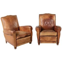 Art Deco Era French Moustache Back Leather Club Chairs
