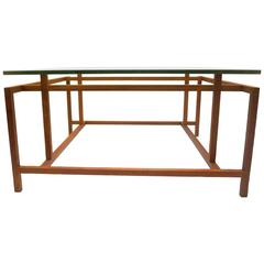 1950s Danish Modern Geometric Teak and Glass Coffee Table by Henning Norgaard