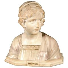 19th Century Carved Alabaster Bust of a Young Girl Signed by Prof. G. Besfi
