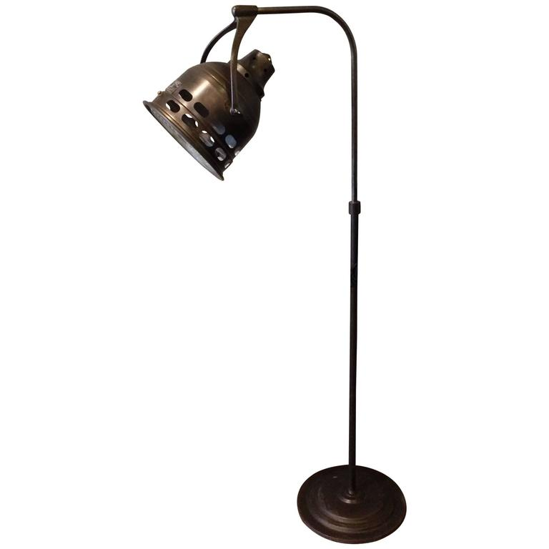 1920s Medical Examination Floor Lamp In Gunmetal Finish At