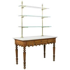 Antique Marble-Top Pastry Table with Bronze Display Shelves from Paris Shop