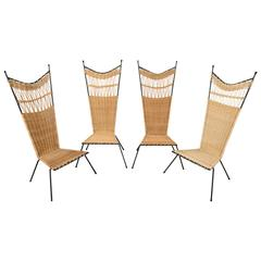 Set of Four Metal and Wicker Slipper Chairs by Raoul Guys, France, 1950