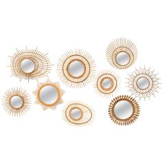 Collection of Nine Rattan or Wicker Sunburst Mirrors, France or Italy, 1960s