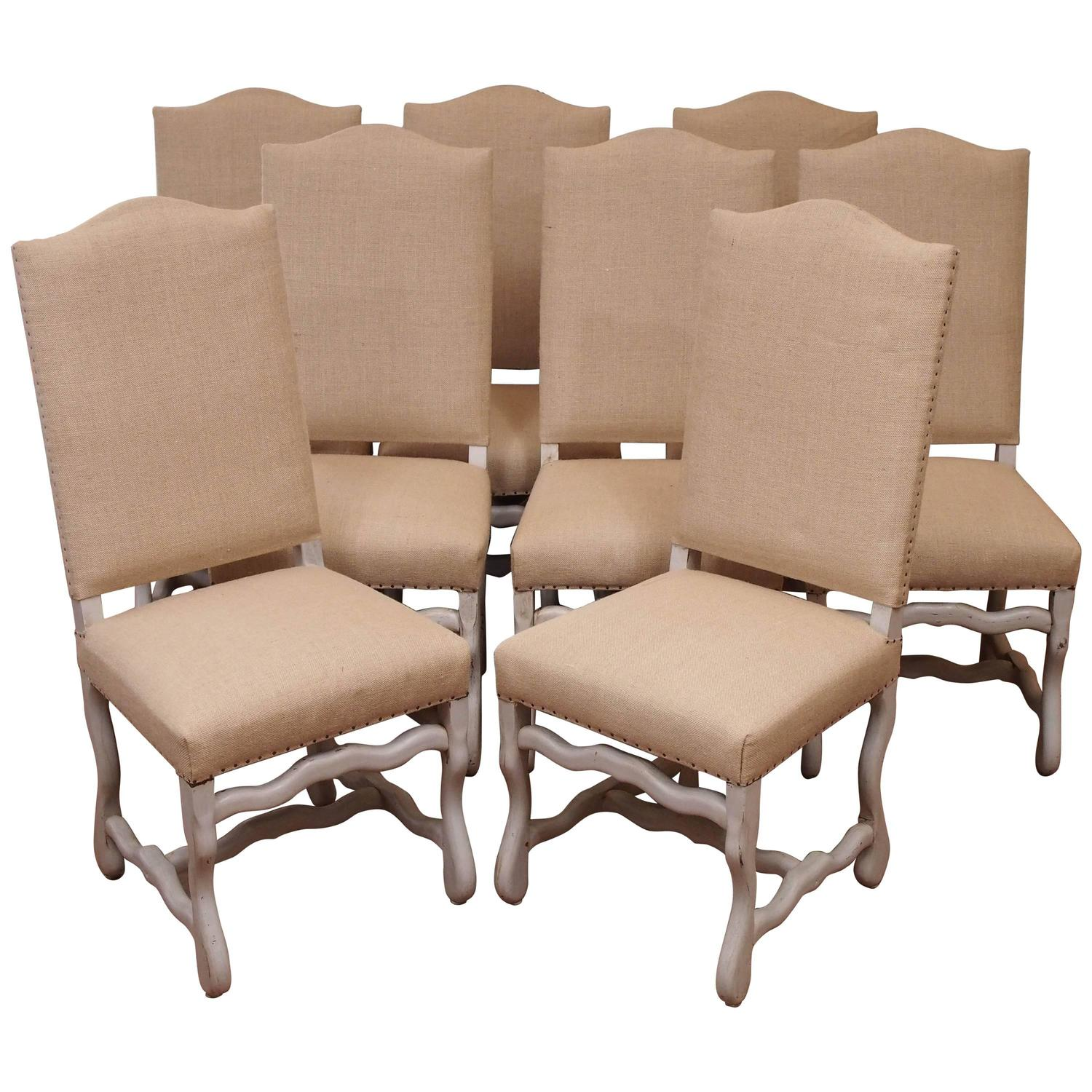 Suite of eight french upholstered dining chairs for sale