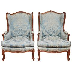 Pair of 19th Century French Louis XV Style Bergere Chairs