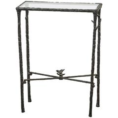 Giacometti Style Wrought Iron and Glass Console