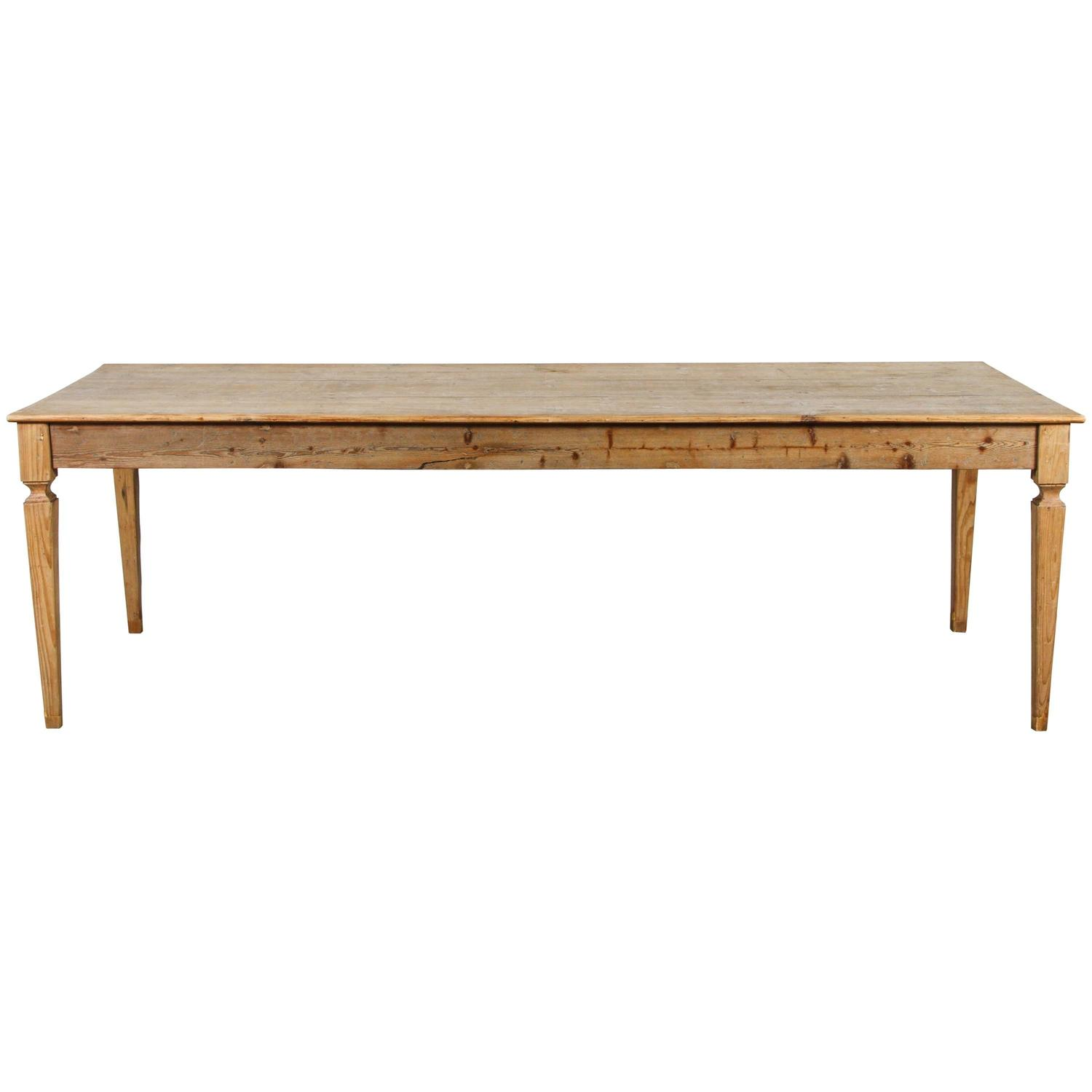 Rustic Italian Pine Farm Table For Sale at 1stdibs