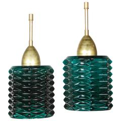 Vintage Italian Green Glass and Brass Pendants