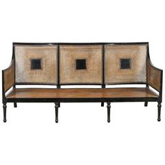 Italian Black Framed Lacquered Caned Bench