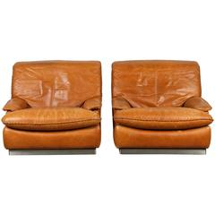 Pair of Italian Leather Club Chairs with Braid Detail and Brushed Steel Base