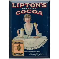Tin Advertising Sign for Lipton's Cocoa