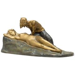 German Bronze Group, Satyr and Sleeping Nude