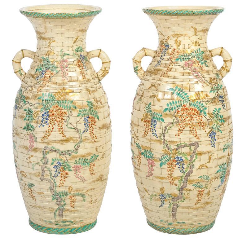 Pair of Antique Satsuma Vases For Sale