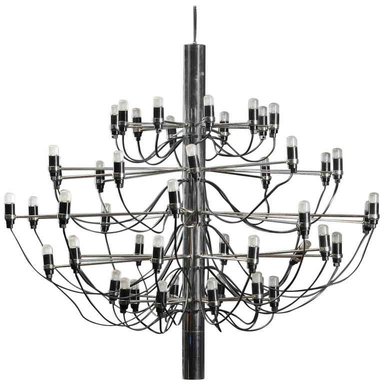 "Large Mid-Century Gino Sarfatti ""2097/50"" Chrome Chandelier For Sale"