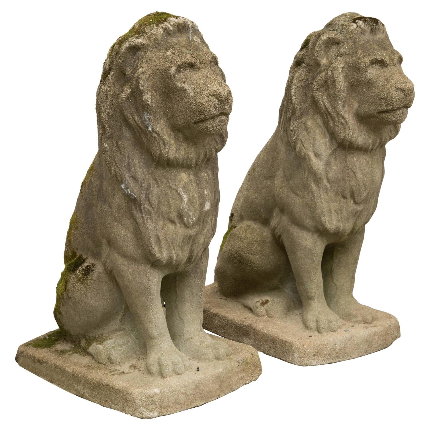 Pair Of Modestly Scaled Vintage Cast Stone Seated Lion