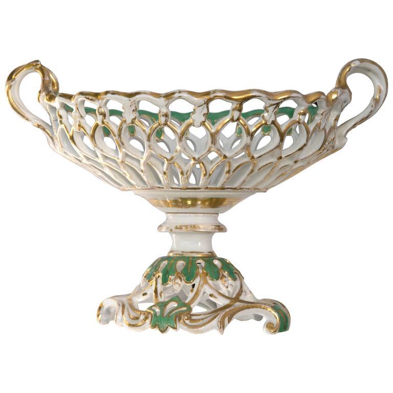 Old Paris Porcelain Reticulated Basket Compote