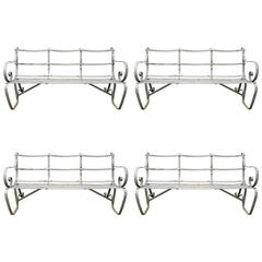 Classic English Edwardian Wrought Iron Strap Style Garden Benches