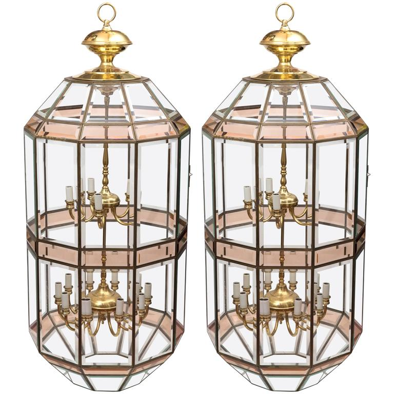 Pair Of Grand Scale Beveled Gl Hanging Lanterns By Fredrick Ramond