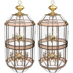 Pair of Grand Scale Beveled Glass Hanging Lanterns by Fredrick Ramond