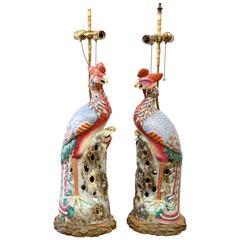 Large Pair of Glazed Famille Rose Porcelain Phoenix Birds as Table Lamps