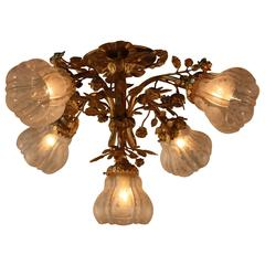 French Bronze and Etched Glass Flush Mount Chandelier