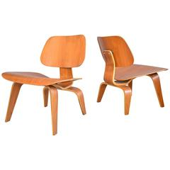 Matched Pair of Charles Eames LCW Lounge Chairs