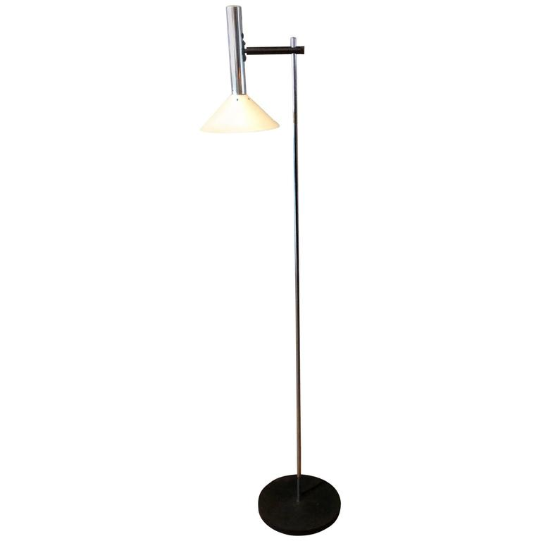 French Chrome Reading Floor Lamp