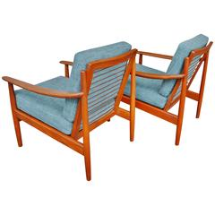 Hot Pair of Teak Lounge Chairs Attributed to Grete Jalk, Restored