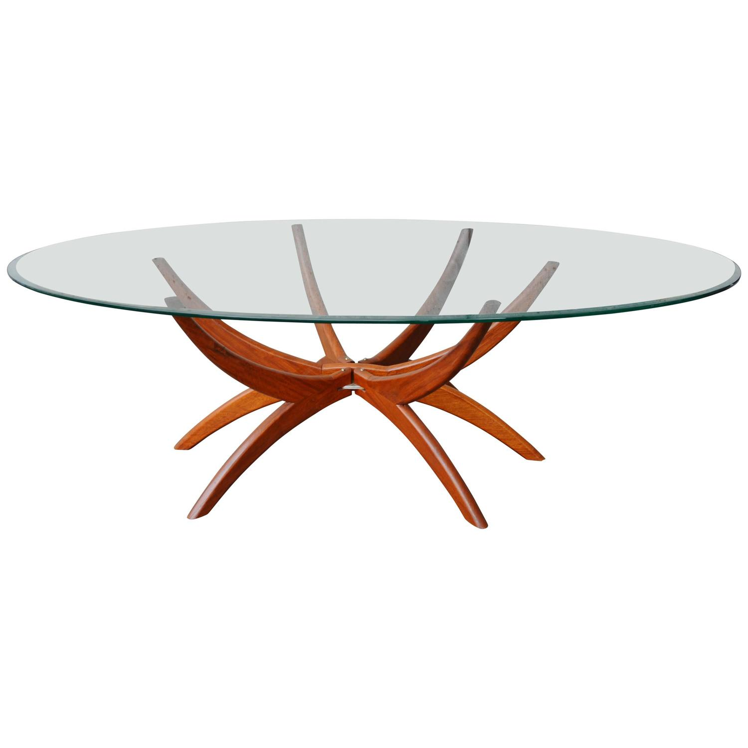 Teak Spider Leg Coffee Table Oval Beveled Clear Glass Top At 1stdibs