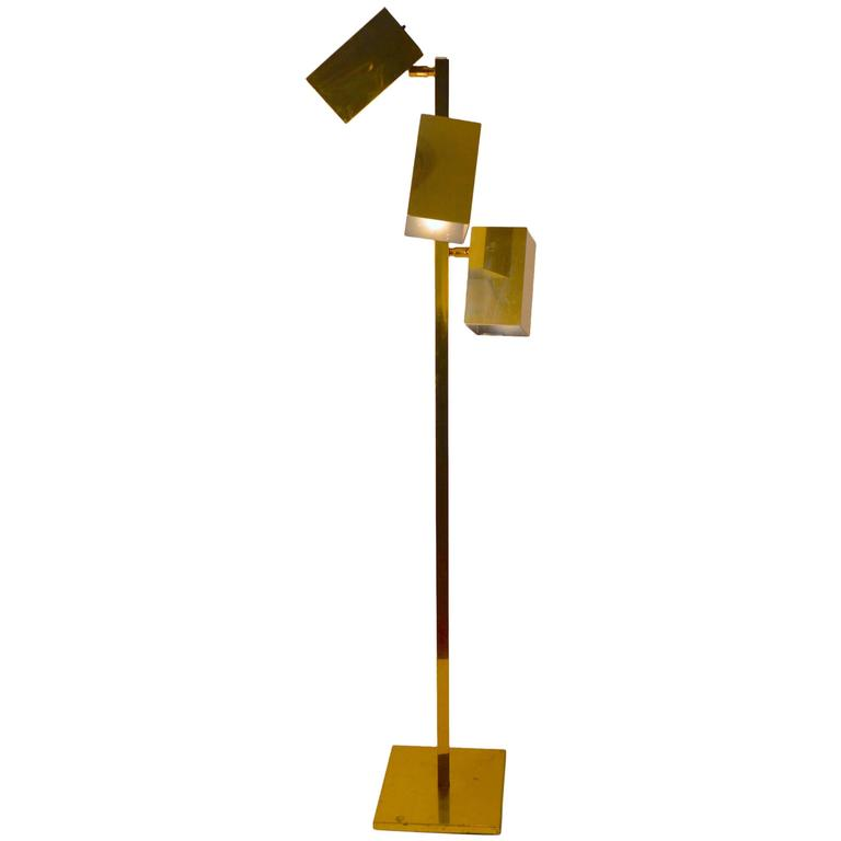 Brass Koch and Lowy Three Can Floor Lamp
