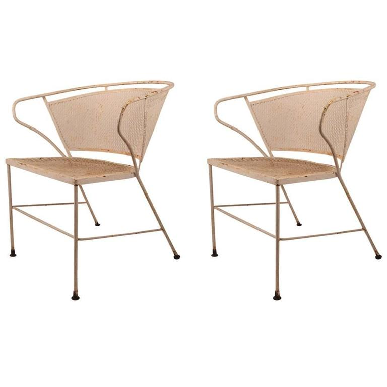 Outdoor Metal Furniture For Sale: Pair Of Metal Mesh Garden Chairs Attributed To Woodard For